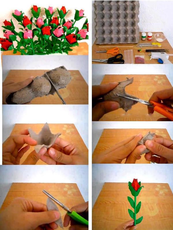 flor de caixa de ovos no arranjo