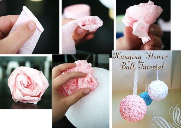 topiaria de papel crepom bola