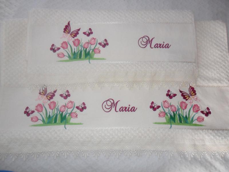 toalha bordada borboletas