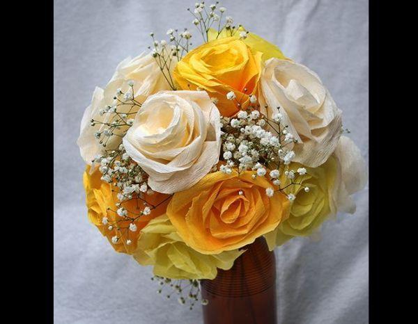flor de crepom amarela