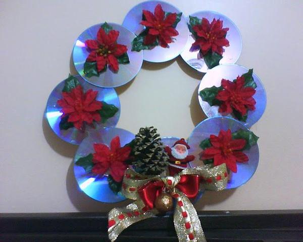 enfeite natalino reciclado com cd