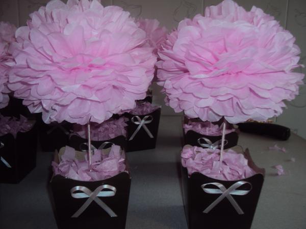 topiaria de papel crepom rosa