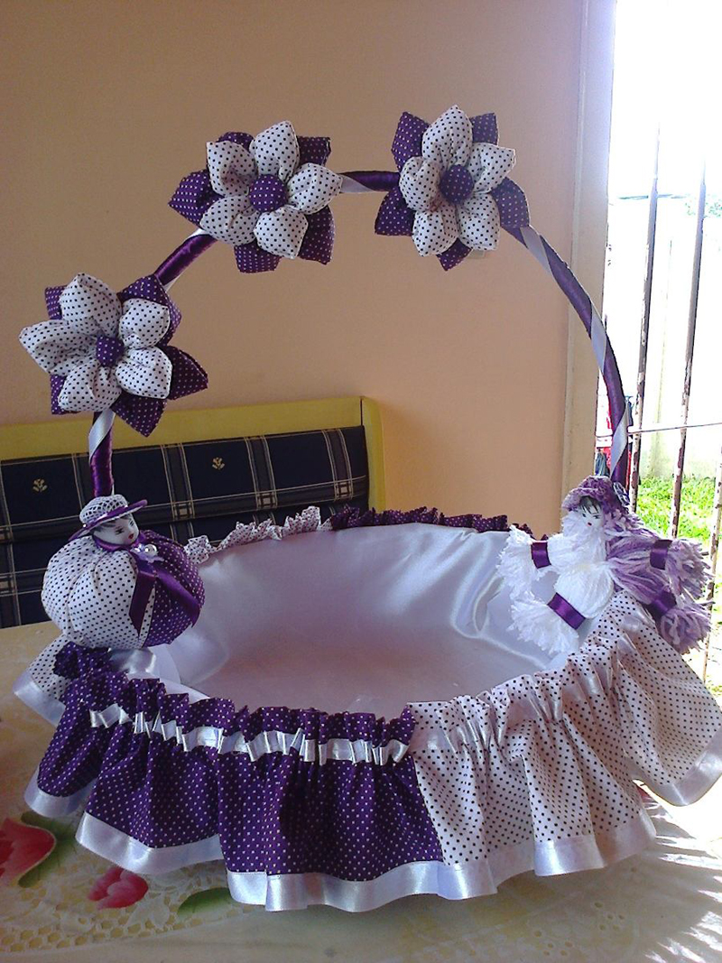 cesta decorada com fuxico
