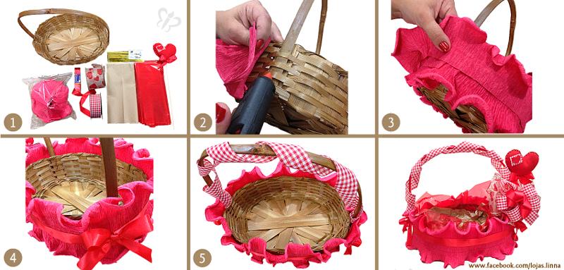 cesta decorada passo a passo