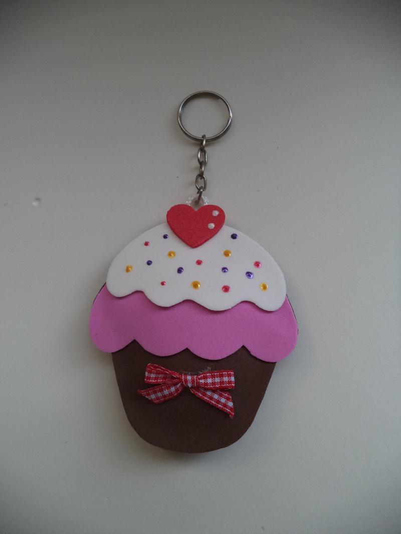 desenho de cupcake para chaveiro