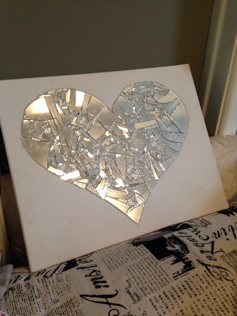 espelho decorado coração