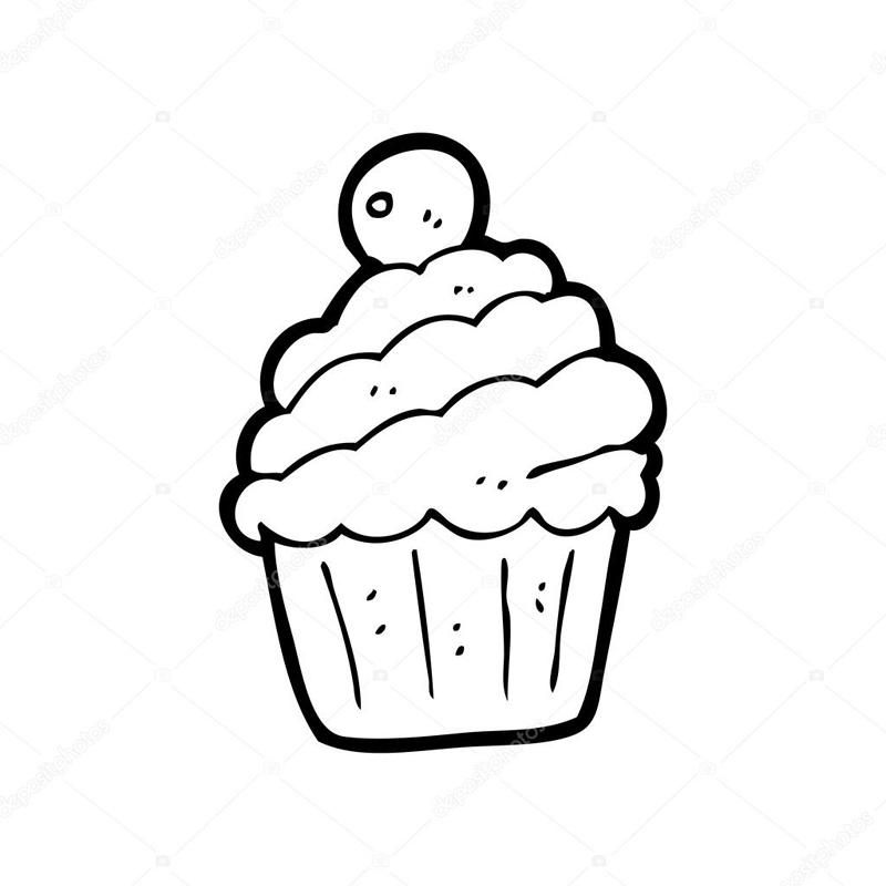 desenho de cupcake comum