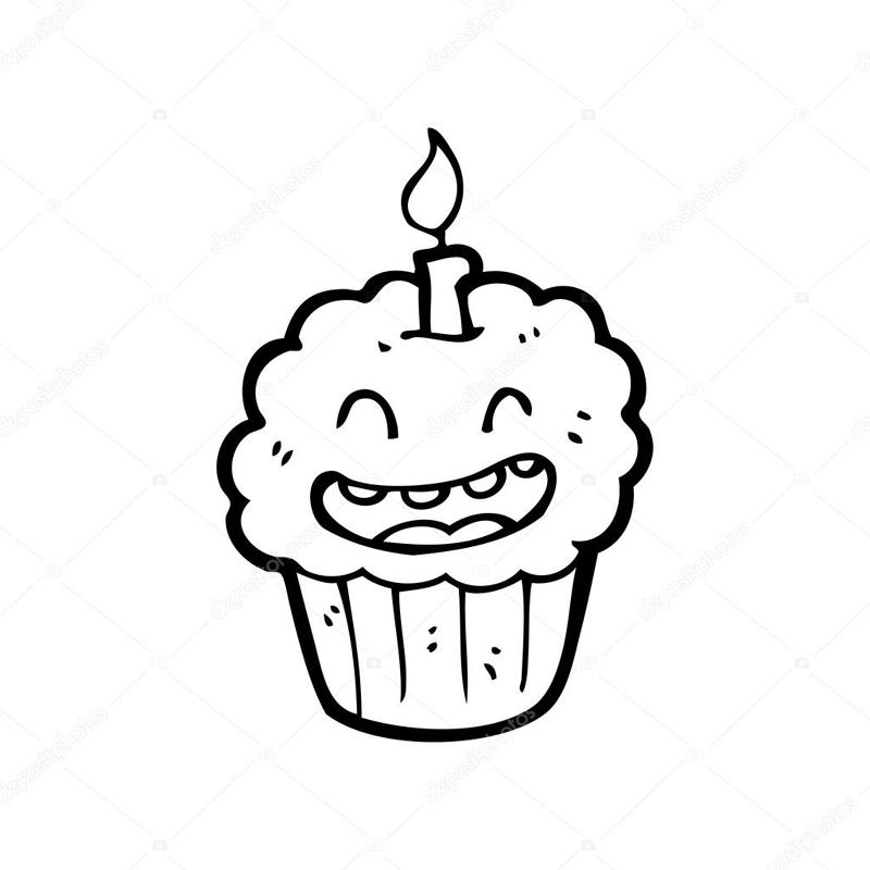 desenho de cupcake com vela