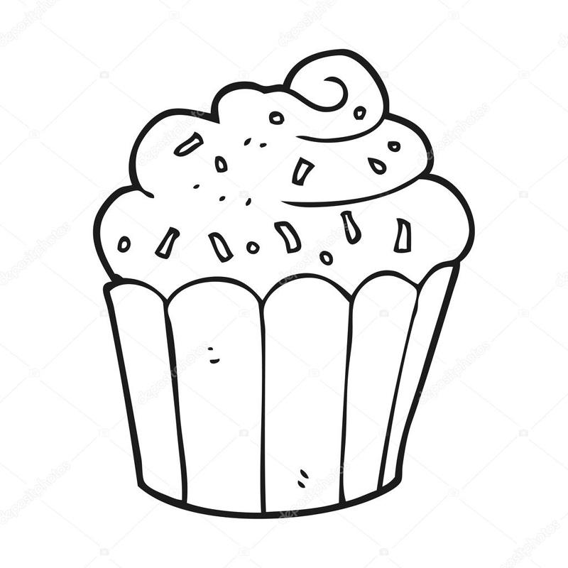 desenho de cupcake com confeitos