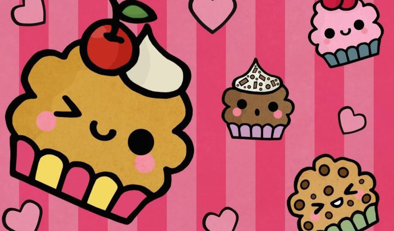 desenho de cupcake colorido