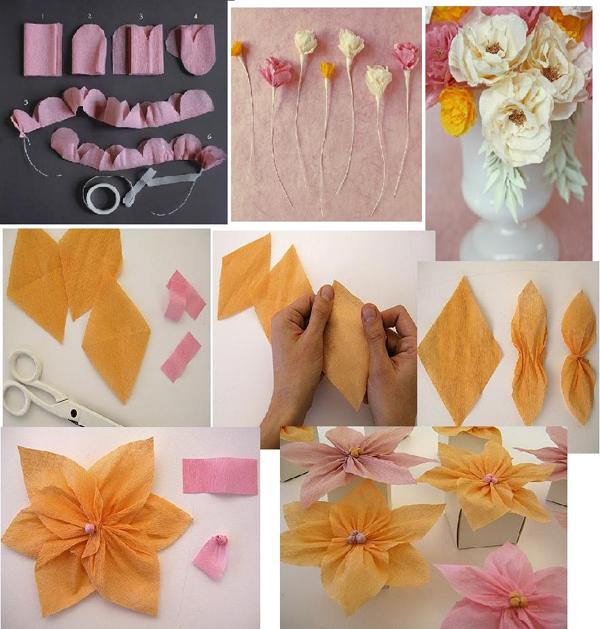flor de crepom com pontas