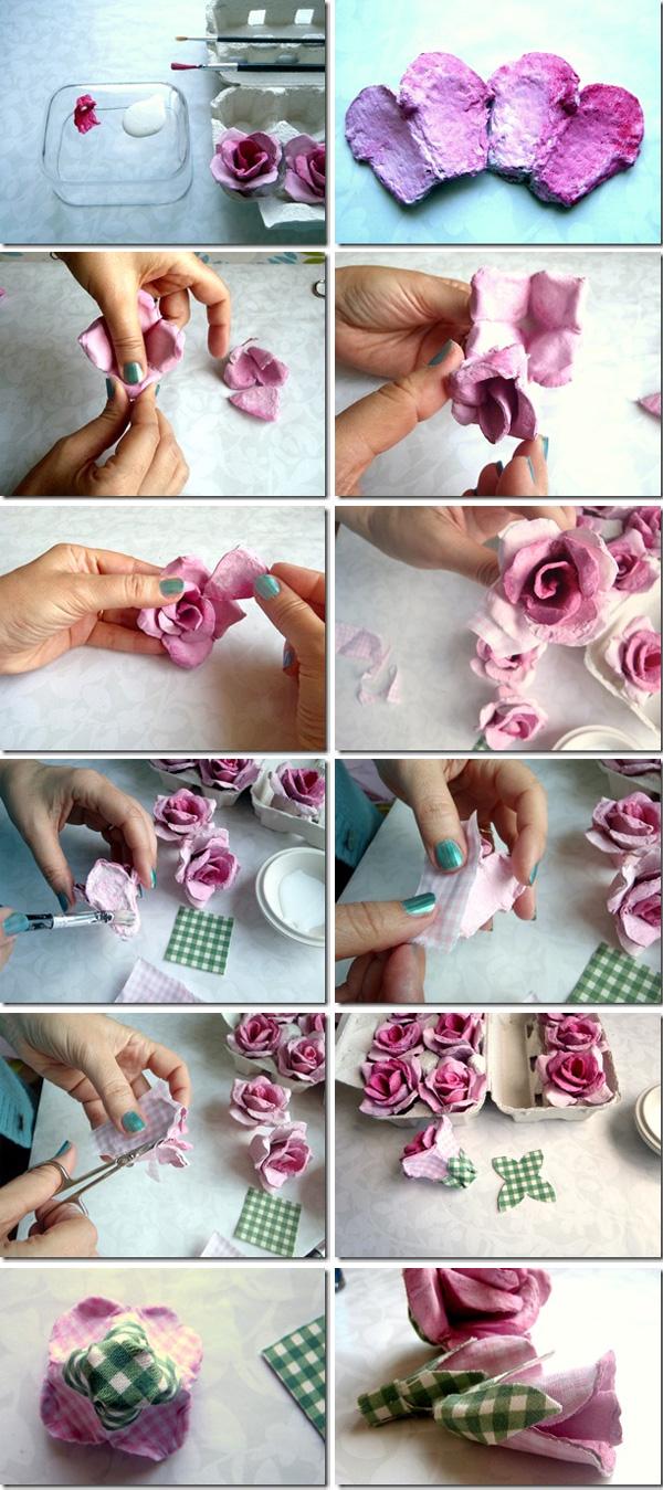 flor de caixa de ovos com tecido
