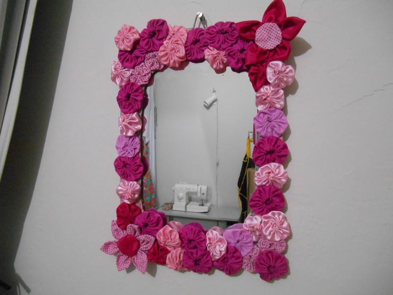 espelho decorado fuxico flor