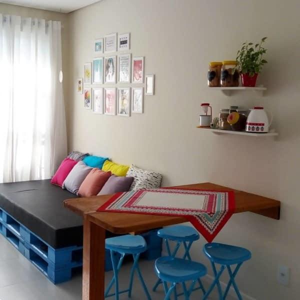 sofa de palete azul