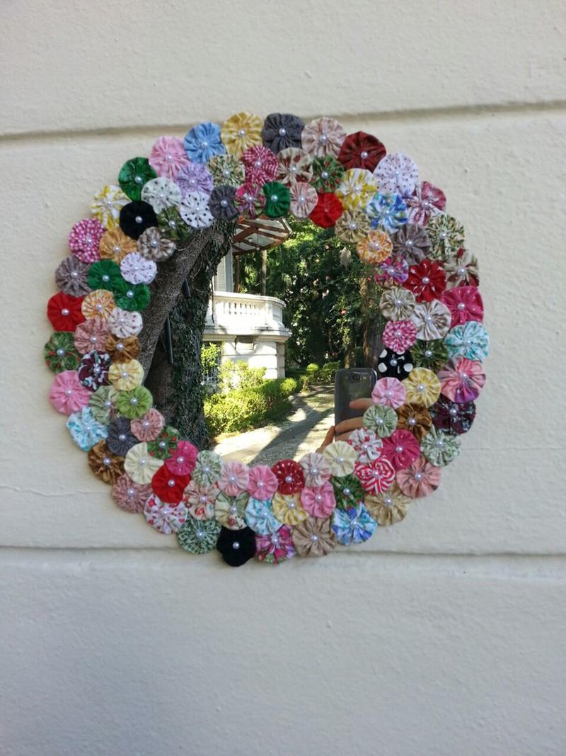 espelho decorado fuxico