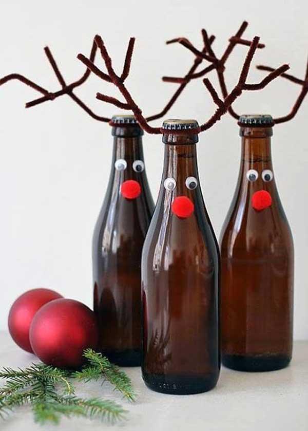 enfeite natalino reciclado garrafas de rena
