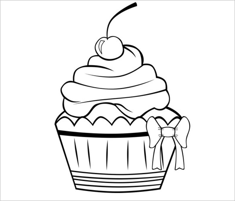 desenho de cupcake com laço
