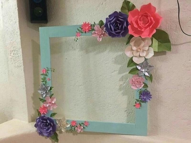 espelho decorado flores papel