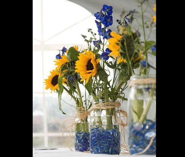 arranjo com flores e pedras