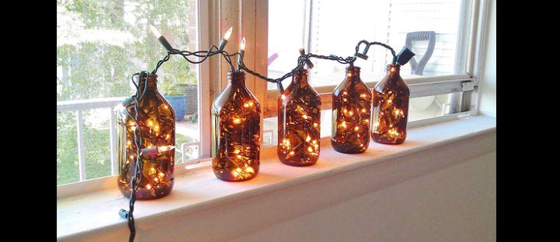 luminaria de garrafa de vidro pisca pisca
