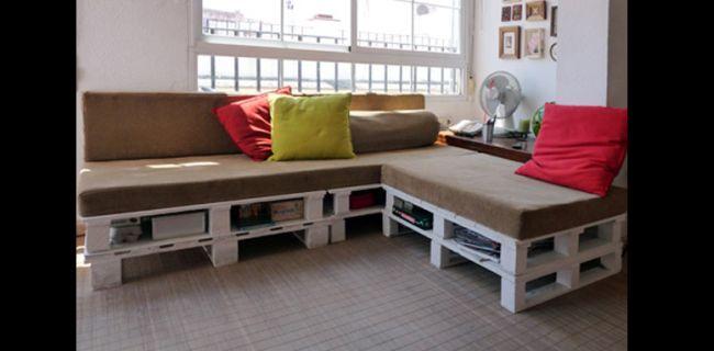 sofá de pallet almofada e estofado