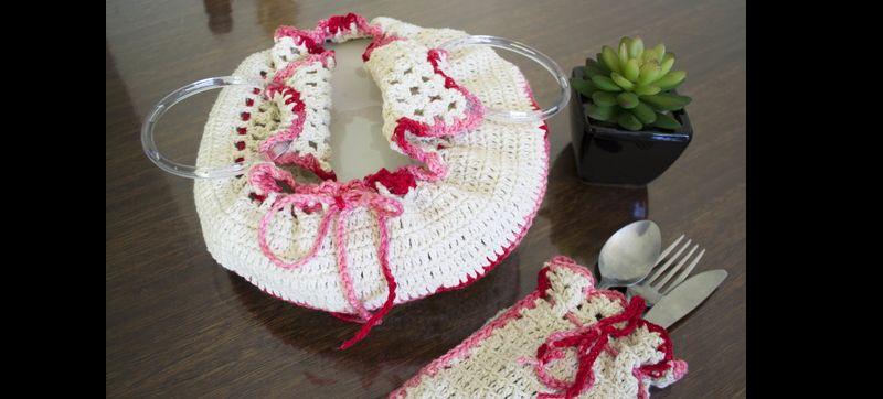 porta prato de croche rosa