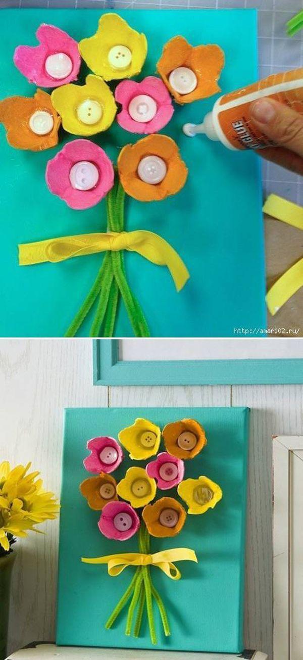 flor de caixa de ovos na tela