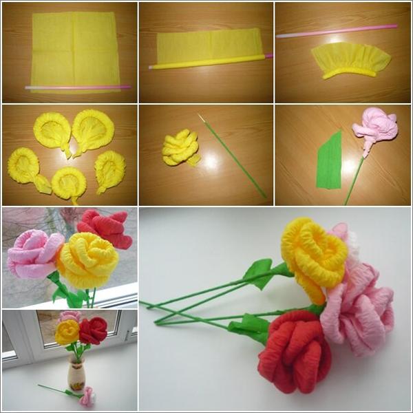 flor de crepom rosas