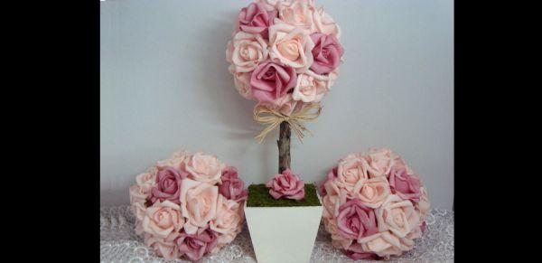 topiaria de papel crepom rosas