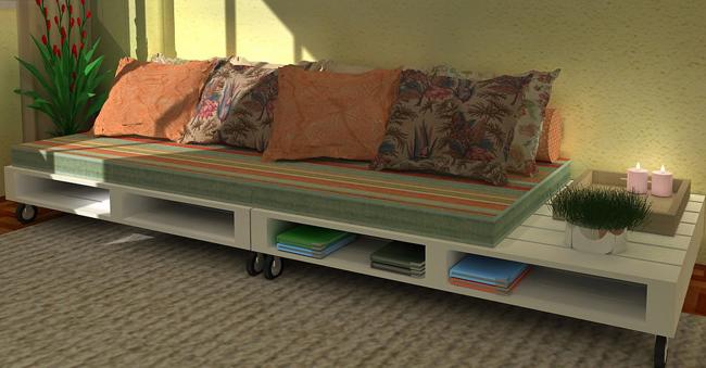 sofá de pallet com rodizio