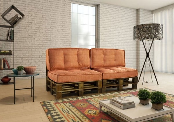 sofa de pallet e futon