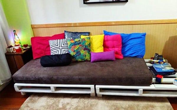 sofa de palete envernizado