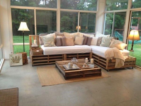 sofa de pallet com gavetas