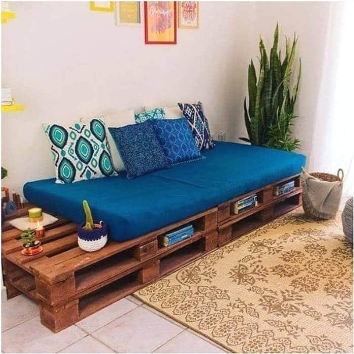 sofa de pallet azul marinho