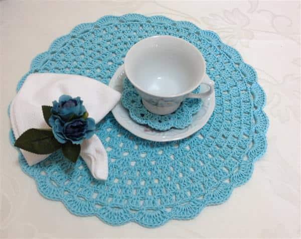 sousplat de crochet azul