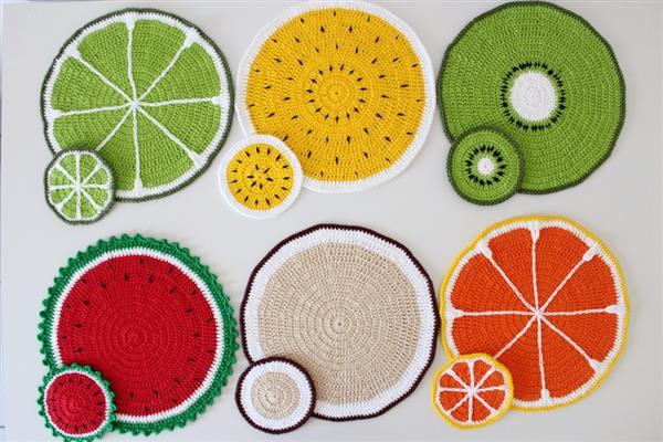 sousplat de croche de frutas
