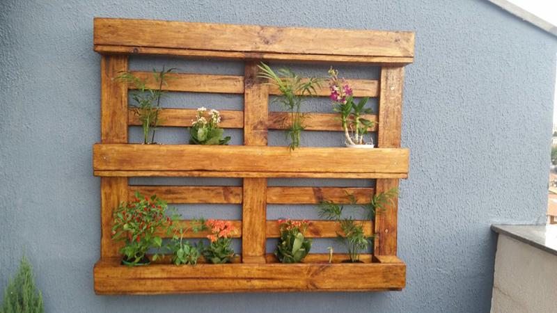 painel de pallet plantas