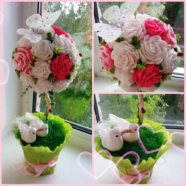 flor de crepom topiaria