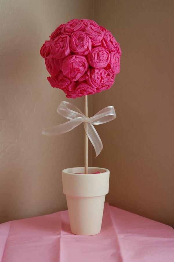 topiaria de papel crepom pink
