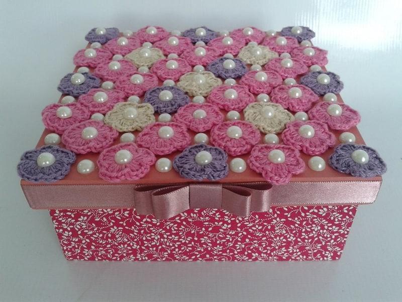 caixa decorada com croche