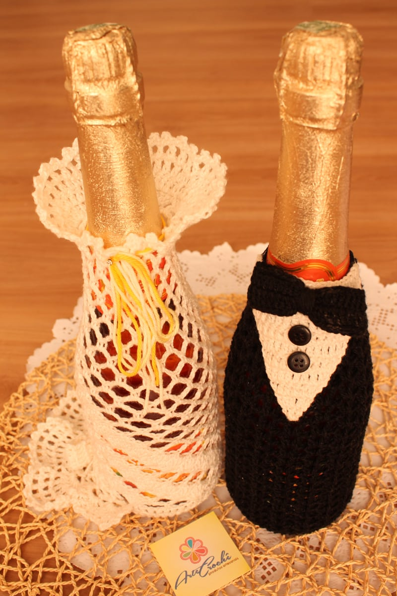 garrafa decorada com croche