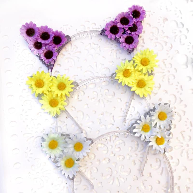 tiara gatinho flores
