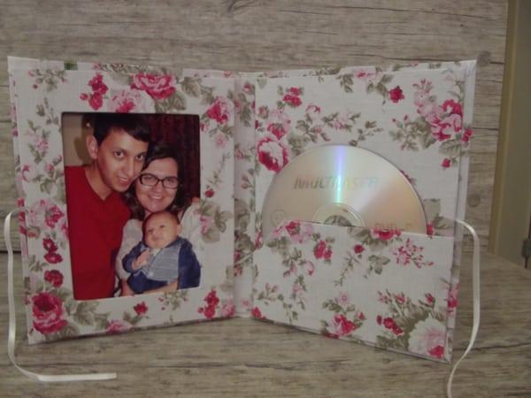 porta fotos de cd com tecido