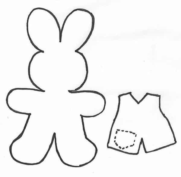 molde de coelho com roupa