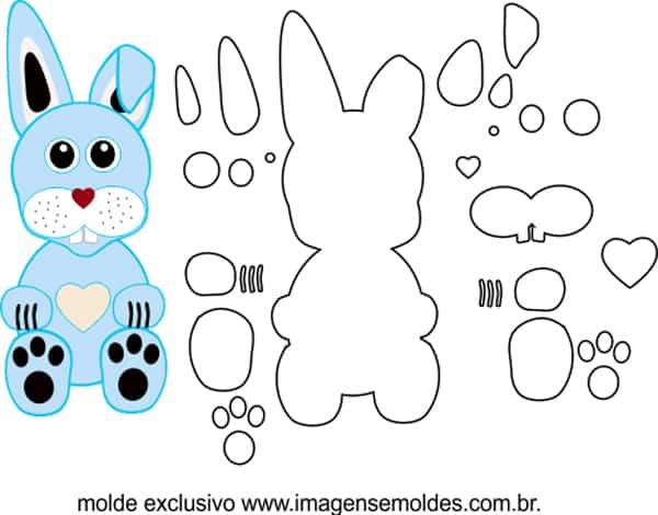 molde de coelho azul