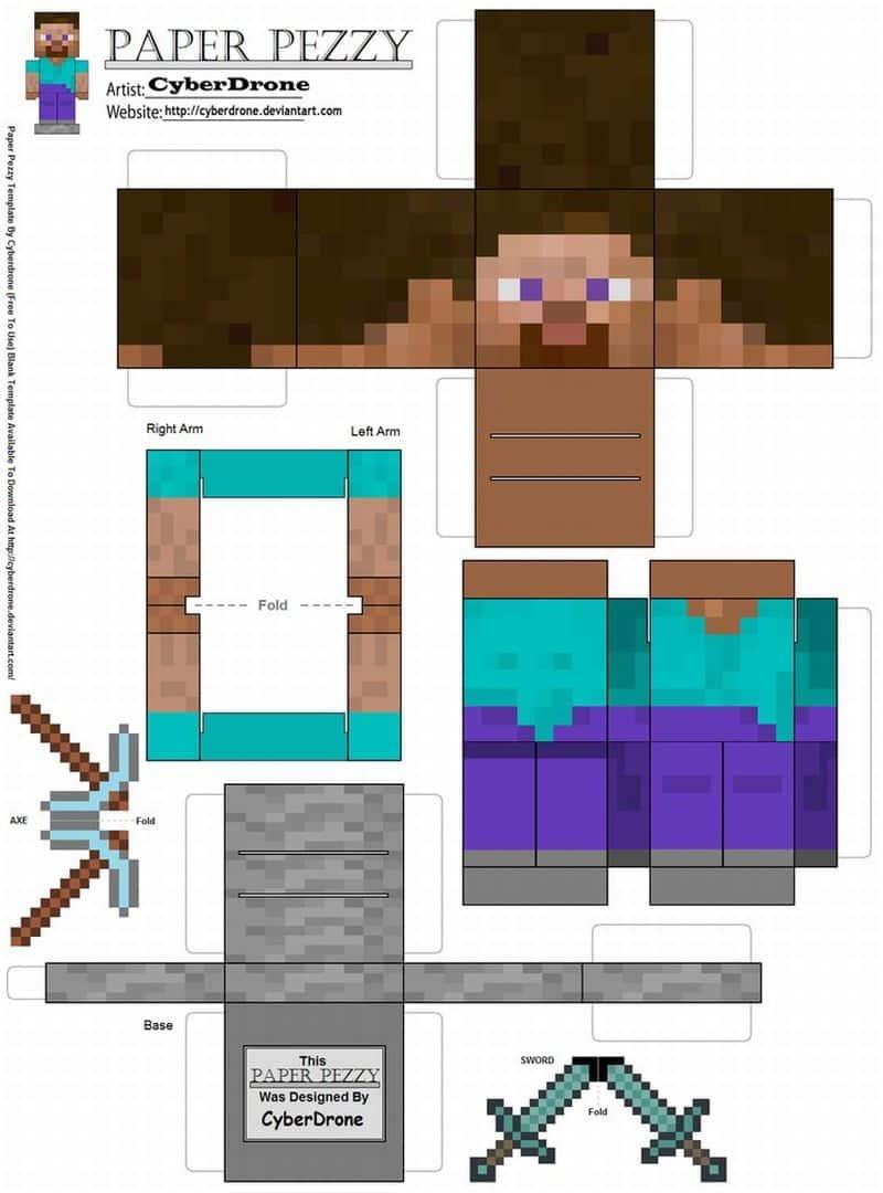 Bonecos Do Minecraft De Papel Como Fazer Artesanato Passo A Passo