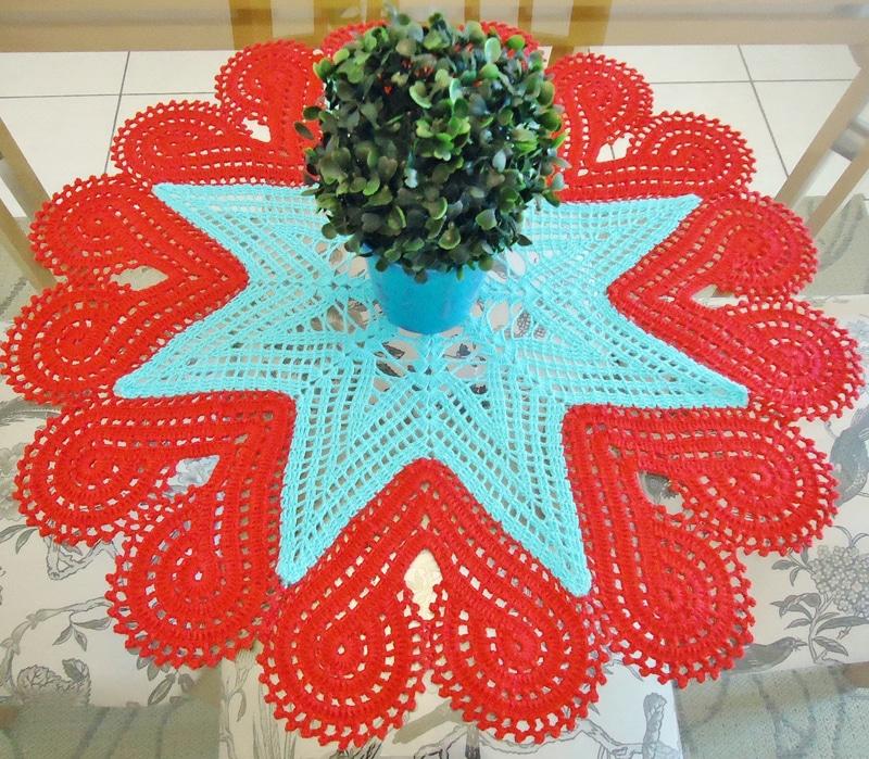 centro de mesa de croche estrela