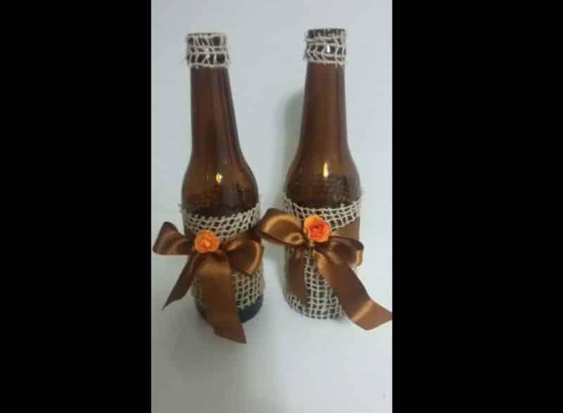 garrafa decorada marrom