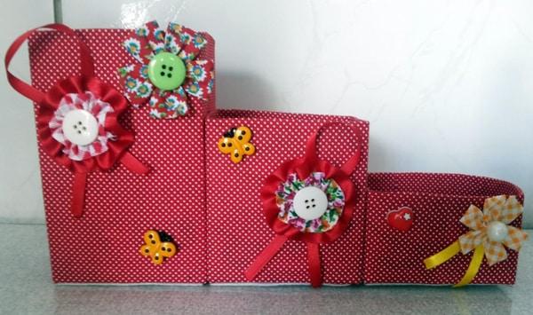 porta-trecos reciclado com flores