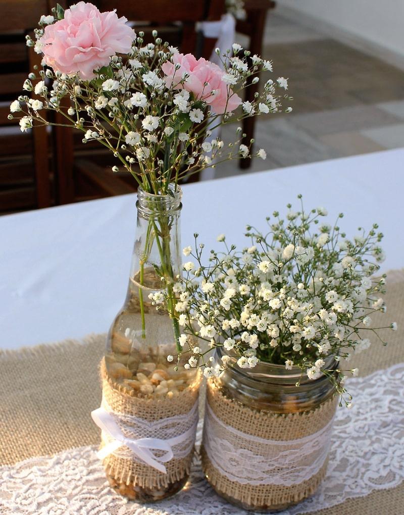 garrafa decorada para casamento rustico